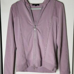 BCBGMaxAzria Dust Lavender Bling Zip Up Sweater